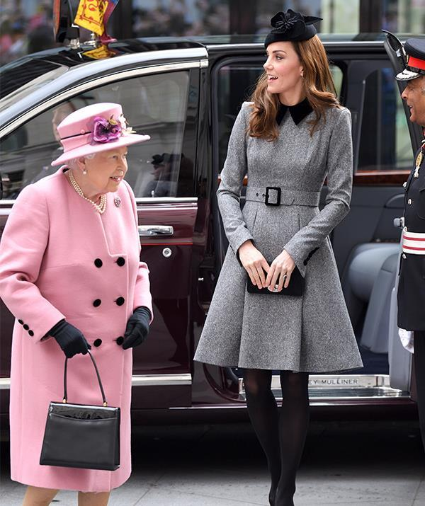 "In March, Kate looked chic as she stepped out alongside the Queen herself in this [grey Catherine Walker coat](https://www.nowtolove.com.au/royals/british-royal-family/kate-middleton-queen-elizabeth-joint-appearance-54719|target=""_blank"") paired with a black hat by Sylvia Fletcher."