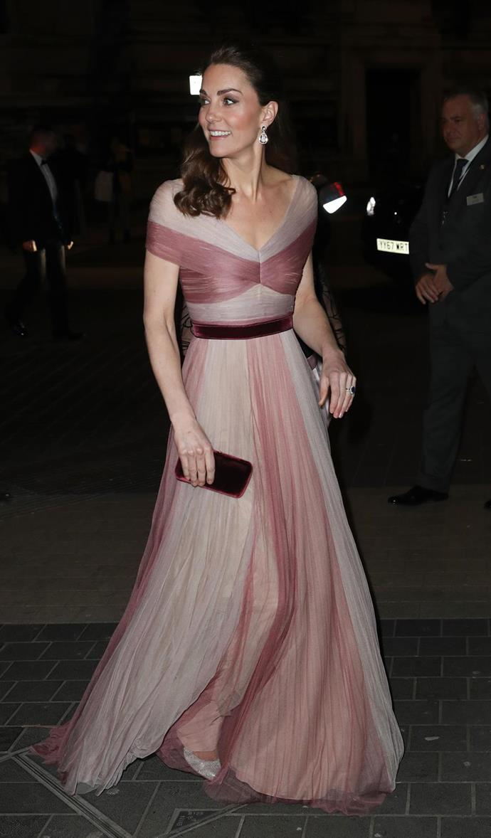 "The Duchess certainly started the year with a fizz and a bang, wearing this divine [pink Gucci gown](https://www.nowtolove.com.au/royals/british-royal-family/kate-middleton-pink-gucci-dress-54141|target=""_blank"") for the  annual 100 Women in Finance event held at the Victoria and Albert Museum."