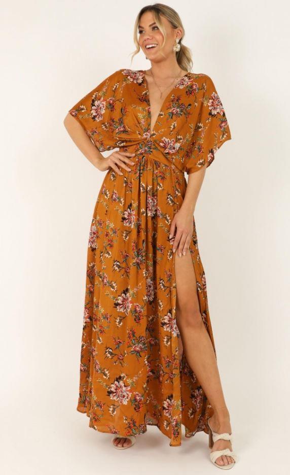 "Showpo vacay ready maxi dress, $79.95. [Buy it online here](https://www.showpo.com/vacay-ready-maxi-dress-in-mustard-floral|target=""_blank""|rel=""nofollow"")."