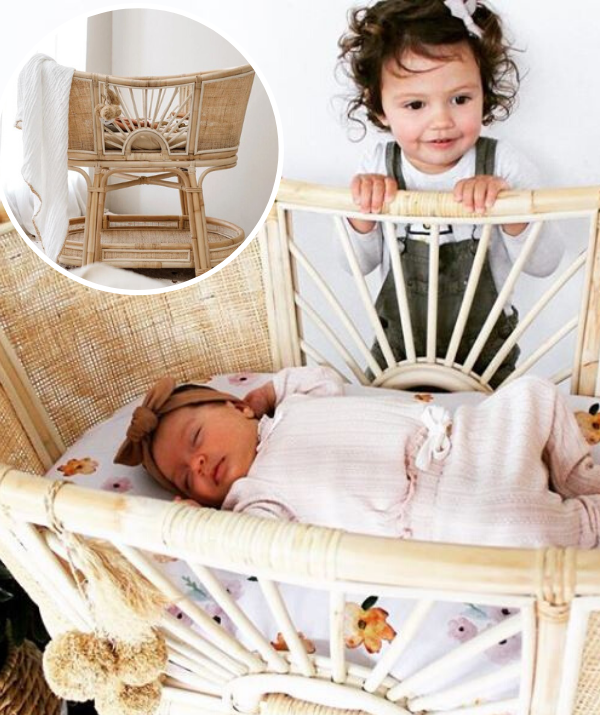 "**Snezana and Sam Wood's bassinet for Charlie Lane** This bassinet would take pride of place in your little one's nursery. It has a beautiful open aired basket top so Sam, Snez and big sister, Willow can keep an eye on Charlie Lane when she's snoozing. The [Sacred Bundle Woven Sunrise bassinet](https://www.sacredbundle.com.au/collections/bassinets/products/woven-sunrise|target=""_blank""