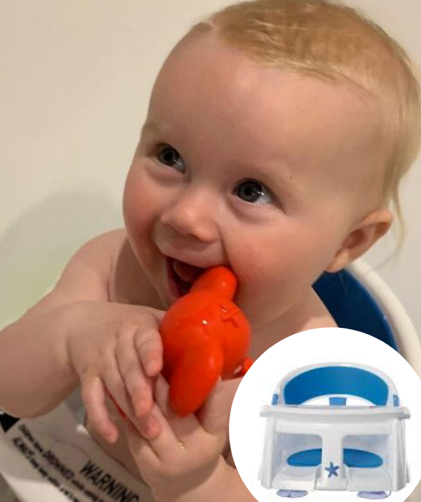 "**Carrie Bickmore's bath seat for Adelaide** From around six months of age and once your bub can sit up on their own, a bath seat will come in very handy. Carrie Bickmore's daughter, Adelaide is having a great time spashing about in the [Dreambaby Super Comfy Bath Seat](https://www.dreambaby.com.au/padded-premium-deluxe-bath-seat-with-heat-sensor.html|target=""_blank""
