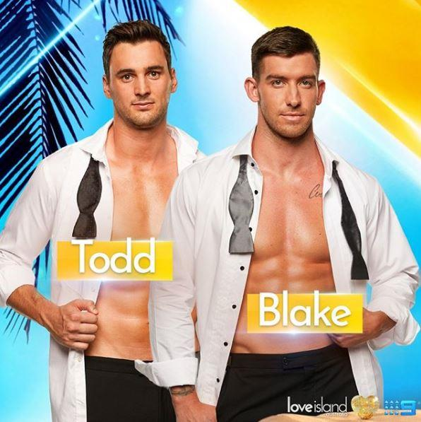 **Todd & Blake** <br><br> Following the departure of two more 'bomb squad' members on Love Island overnight, it's time for the girls to get their own bevy of 'intruders. ' <br><br> Along with the recent introduction of Aaron, two new guys Todd and Blake will be entering the villa on Wednesday night! We wonder if their arrival will cause some drama...