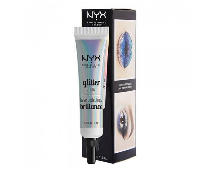 """**Glitter Primer by NYX Professional Makeup, $12.95 at [Priceline](https://www.priceline.com.au/nyx-professional-makeup-glitter-primer-10-ml
