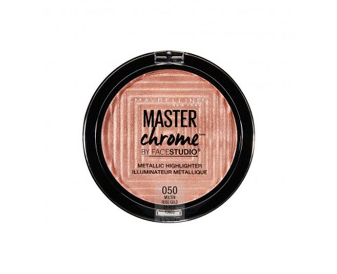 """**Master Chrome Metallic Highlighter by Maybelline, $19.95 at [Priceline](https://www.priceline.com.au/maybelline-master-chrome-metallic-highlighter-6-7-g