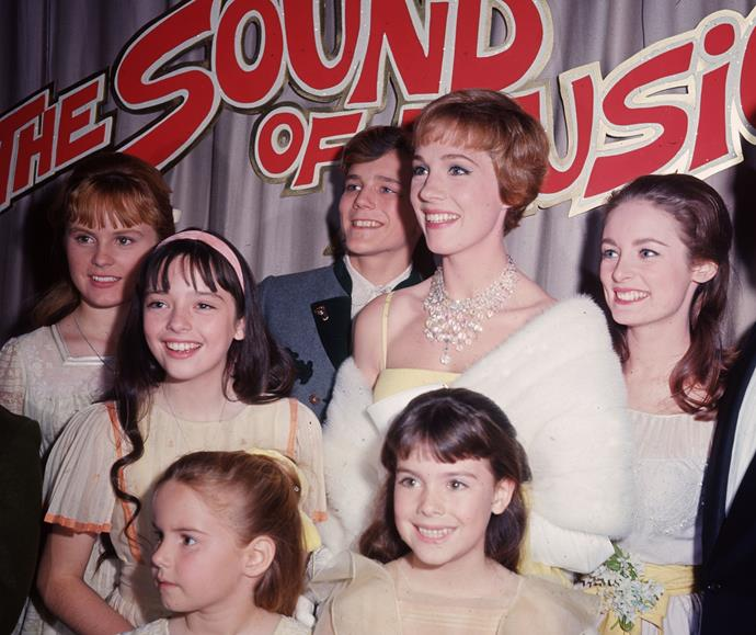 The cast of *The Sound of Music* at the film's premiere in 1965, just a year after her first huge hit, *Mary Poppins*. Julie would go on to win the Golden Globe Award for Best Actress for the second year in a row.