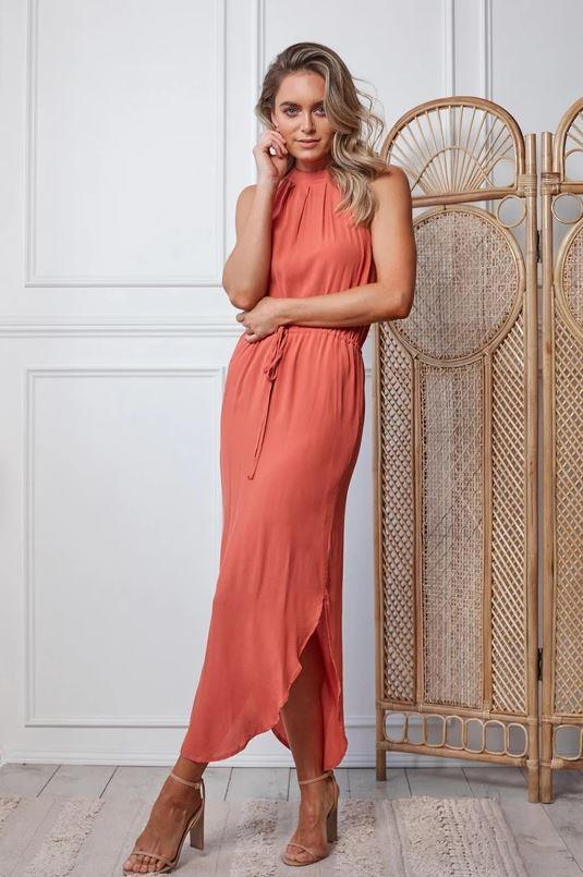 "Ester demitria dress, $79.95. [Buy it online here](https://www.esther.com.au/products/demitria-dress-rust|target=""_blank""