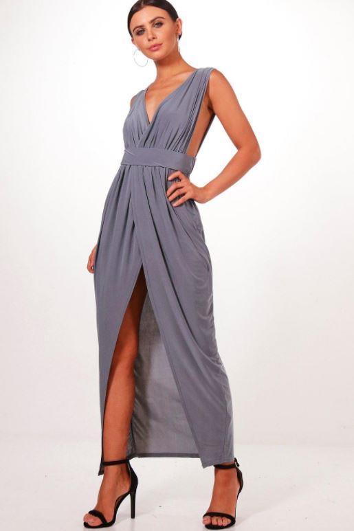 "Boohoo petitie plunge drape maxi dress, $18. [Buy it online here](https://au.boohoo.com/petite-plunge-drape-maxi-dress/PZZ95598-121-16.html|target=""_blank""|rel=""nofollow"")."