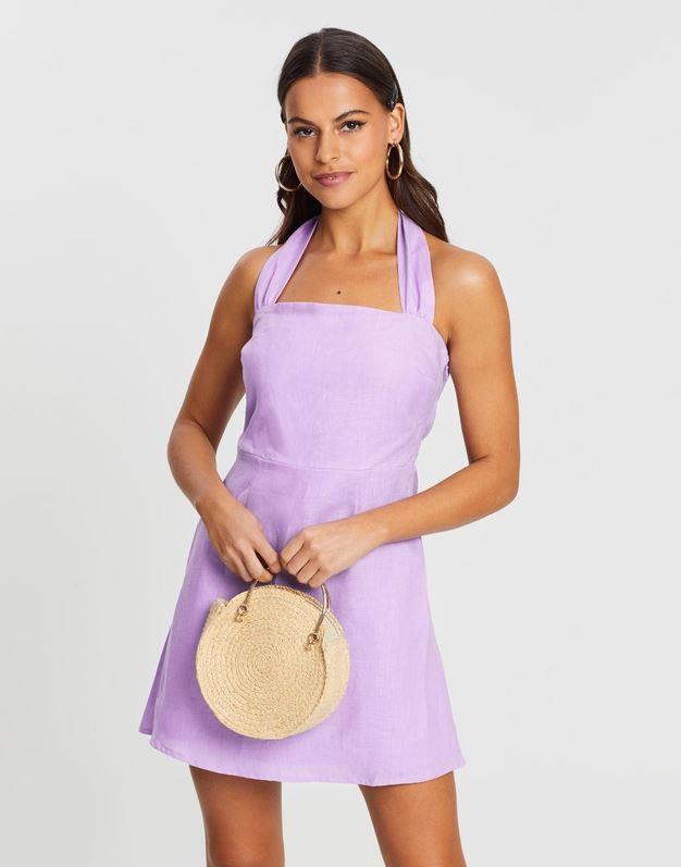 "Dazie ibiza halter linen dress, $79.99. [Buy it online via The Iconic here](https://www.theiconic.com.au/ibiza-halter-linen-dress-907789.html|target=""_blank""