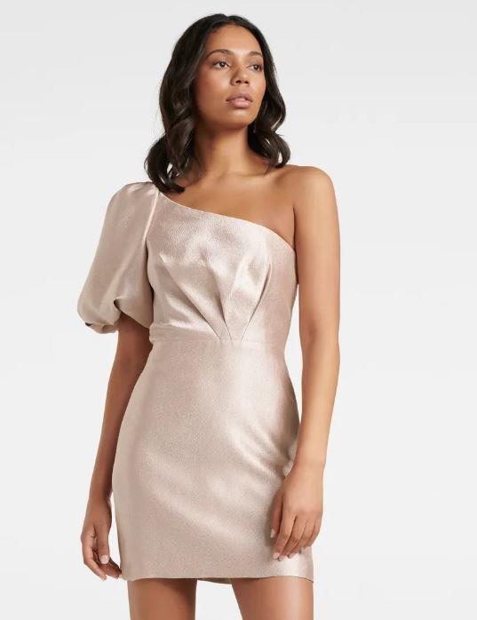 "Forever New maple one-shoulder dress, $159.99. [Buy it online here](https://www.forevernew.com.au/maple-one-shoulder-bow-mini-260353?colour=blush|target=""_blank""