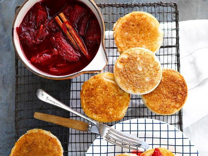 """Indulge in these delicious [**crumpets with sweet rhubarb compote**](https://www.womensweeklyfood.com.au/recipes/crumpets-with-rhubarb-compote-28681 target=""""_blank"""") - perfect for breakfast, dessert, or as a decadent treat."""