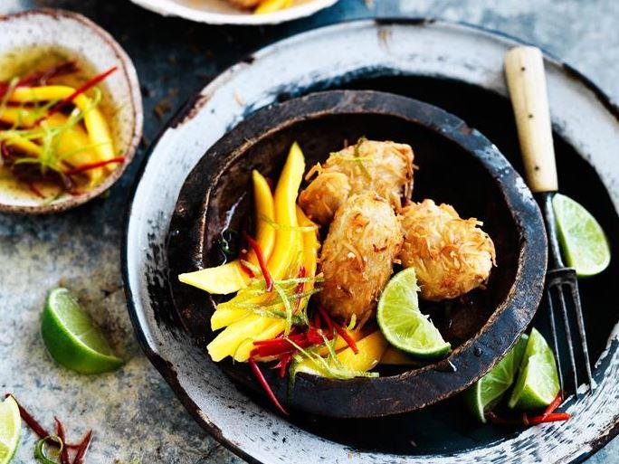 """The Caribbean is calling! These fresh **[coconut vegan fritters, served with mango chilli and lime](https://www.womensweeklyfood.com.au/recipes/coconut-fritters-with-mango-chilli-and-lime-29452 target=""""_blank"""")** are absolutely scrumptious!"""
