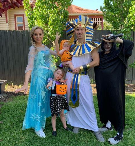 "Carrie Bickmore and her adorable young family also brought an adorable splash of spookiness to our Instagram feeds, dressing as the ""The Motley Crew"".  <br><br> Carrie quipped: ""Side note: some of the costumes I saw scared the bejesus out of me. Whatever ever happened to people dressed as pumpkins! The lawn mowing zombie is gonna be in my nightmares for days!"""