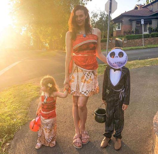 Megan Gale also brought a little holiday cheer and scare, donning a beautiful Polynesian outfit and twinning with her daughter Rosie in the process. Her son River's spooky look mixed things up!