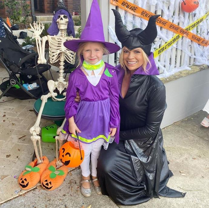 But her witchy costume that matched with daughter Maggie's was a bit cuter.