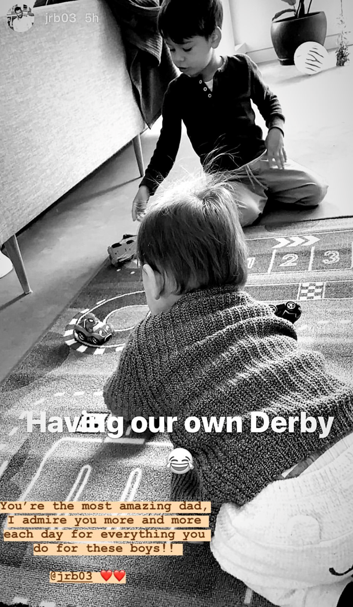 Lauren reposted this sweet snap of Jimmy and Nadia's sons playing at home.