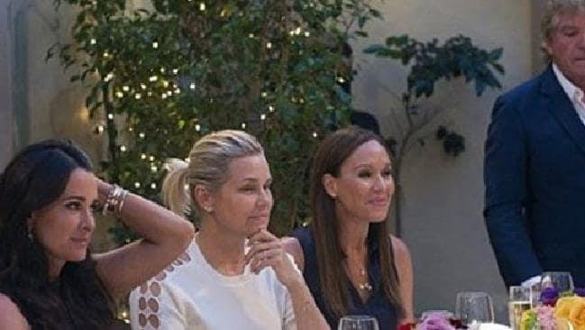 Angie on the set of *The Real Housewives of Beverly Hills* in 2015.