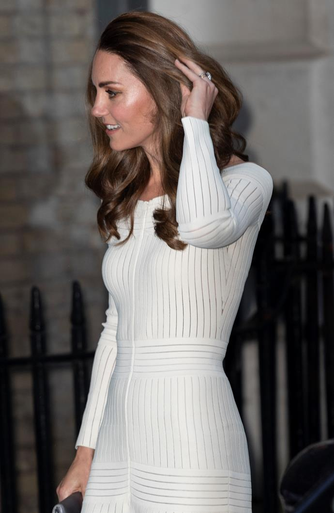 Kate, pictured here in June, made a *very* low key entrance into the London pub.