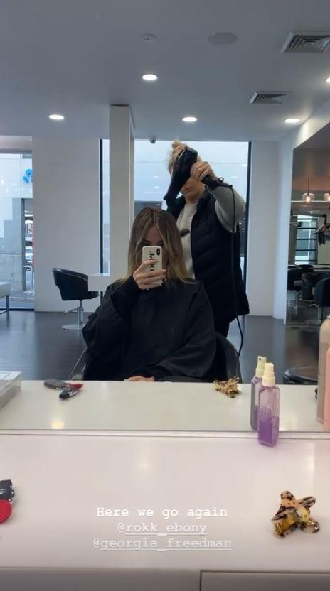 Can you guess the celeb? Yep, none other than Brooke Hogan is getting her tresses perfected for a big day ahead!