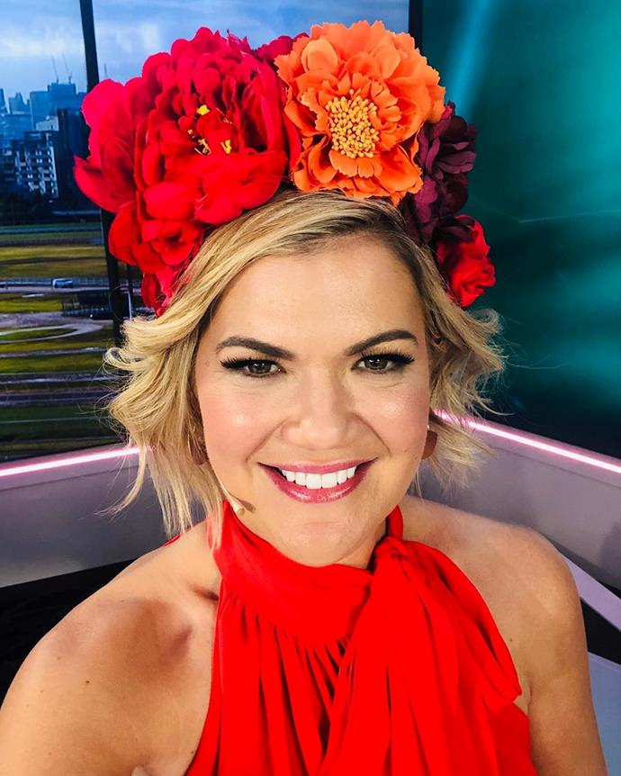 *Studio 10* host Sarah Harris is wearing a giant floral headpiece by Ford Millinery.
