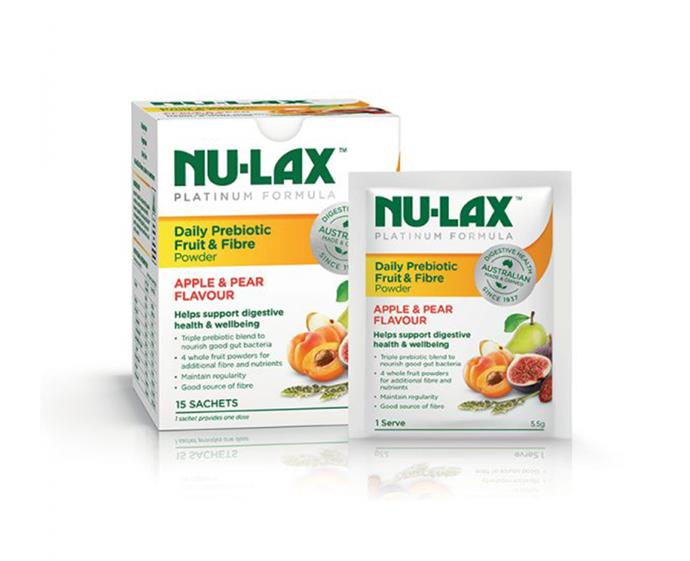 "Nu-Lax Daily Prebiotic Fruit & Fibre, $12.49 at [Chemist Warehouse](https://www.chemistwarehouse.com.au/buy/88344/nulax-platinum-daily-prebiotic-fruit-fibre-powder-15x5-5g-sachets?rcid=1236|target=""_blank""
