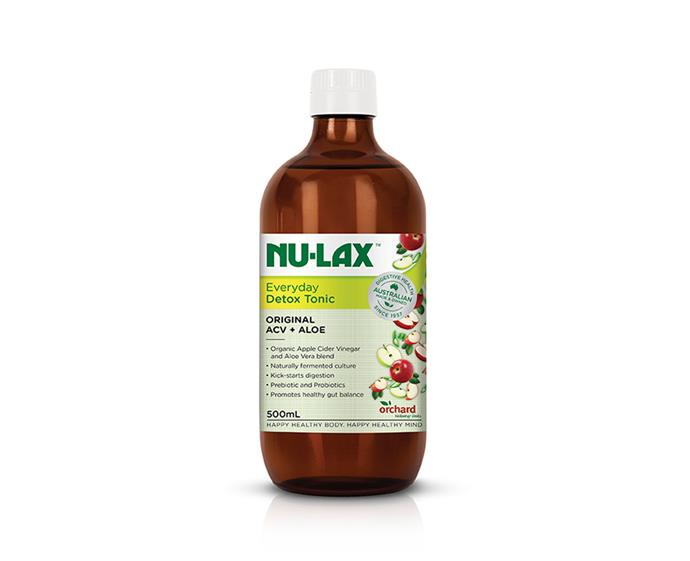 "Nu-Lax Everyday Detox Tonic, $22.99 at [Chemist Warehouse](https://www.chemistwarehouse.com.au/buy/94856/nulax-everyday-detox-tonic-original-acv-aloe-500ml?rcid=1236|target=""_blank""