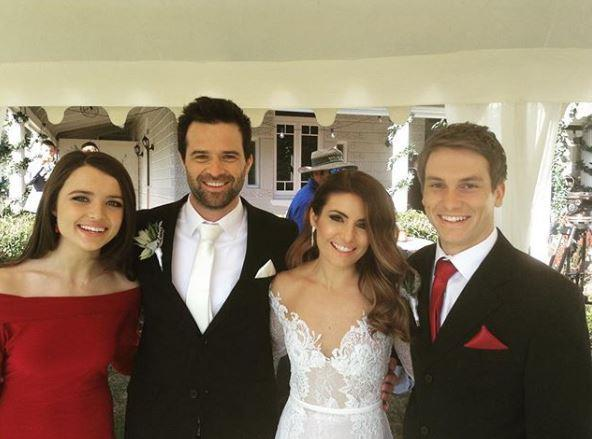 Pip Northeast, Charlie, Ada Nicodemou and Jake Speer film Zac and Leah's wedding on *Home and Away.*