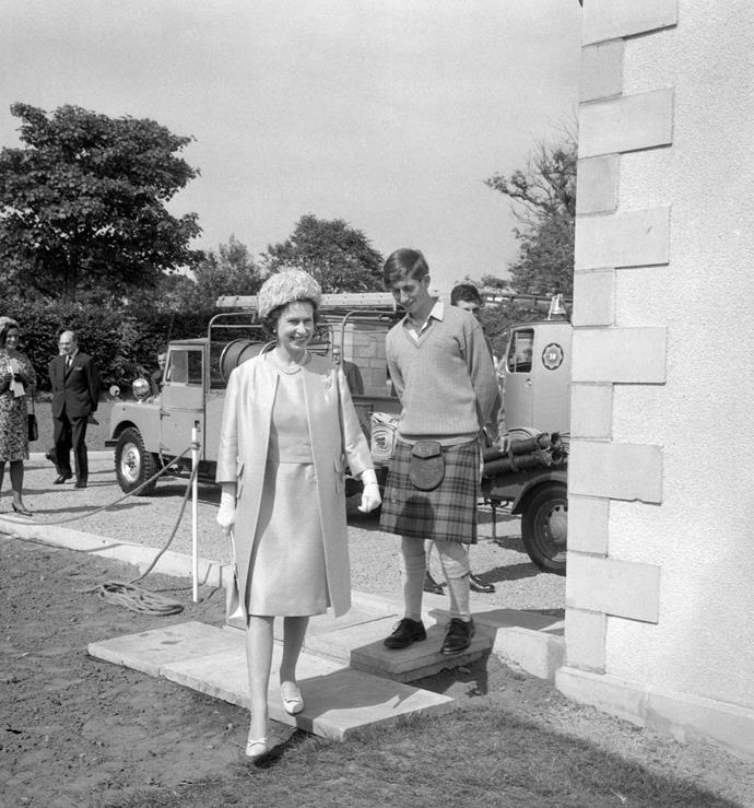 Queen Elizabeth II and Prince Charles, head boy of the school in 1967.