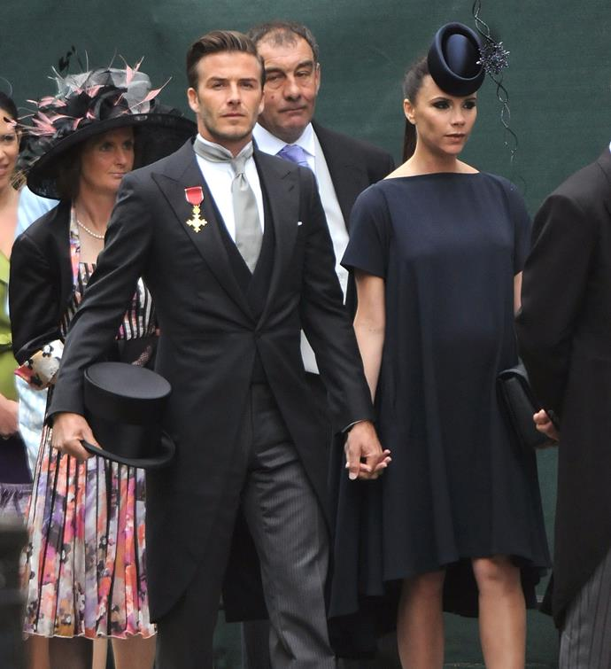 Victoria Beckham and her husband David Beckham in their finest at Prince William and Kate Middleton's wedding in 2011.