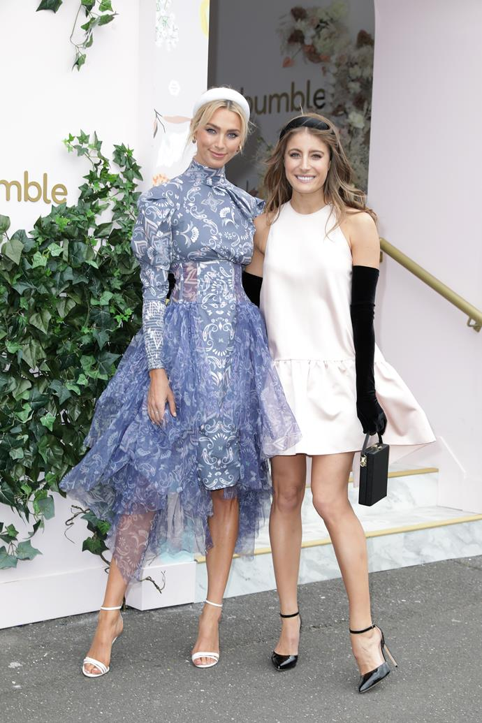 Bumble's  leading lady Michelle Battersby looks drop-dead stunning in this lilac creation. Her and Bec make a heck of a stylish duo.