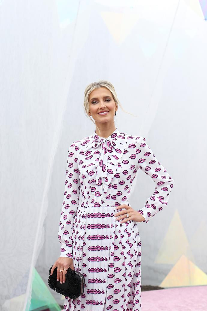 Kate Waterhouse's quirky lip-clad printed dress is the definition of feminine chic.