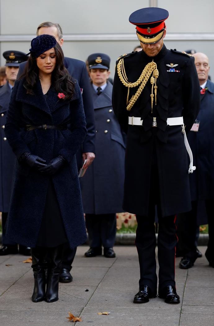 Meghan and Harry both paid their respects by laying a cross during the ceremony.