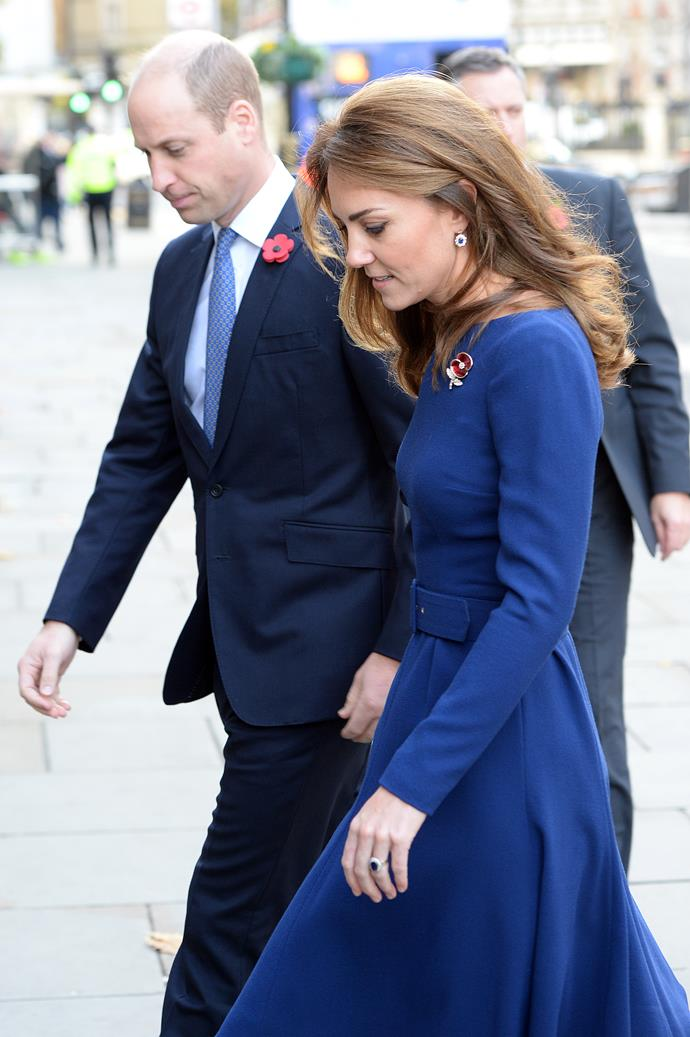 Kate looked gorgeous in a royal blue Emilia Wickstead dress, which she paired with earrings that once belonged to Princess Diana.