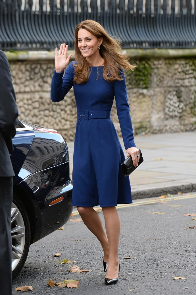 Kate wore her caramel-coloured tresses in loose waves.