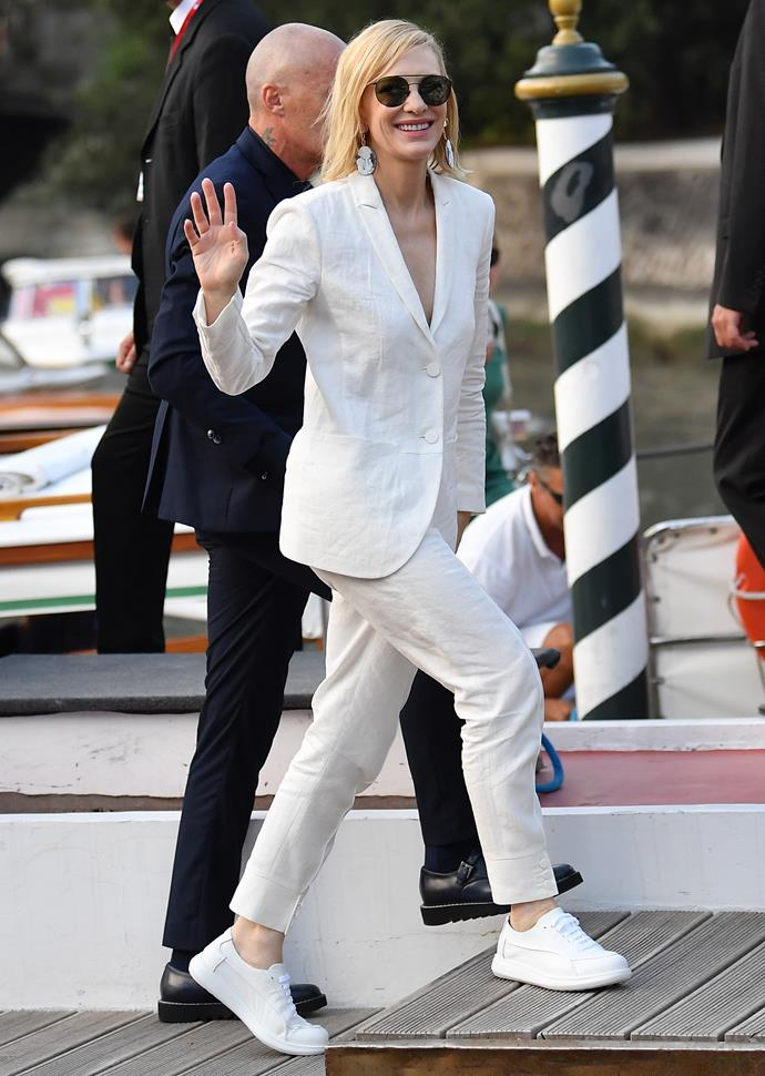 The Queen of cool Cate Blanchett is rocking the hell out of this suit, and also proving you don't have to wear heels to a fancy event! We love how she styled this with matching white sneakers.