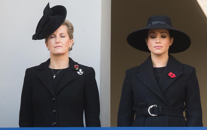 Duchess Meghan and Sophie of Wessex shared a balcony as they paid their respects.