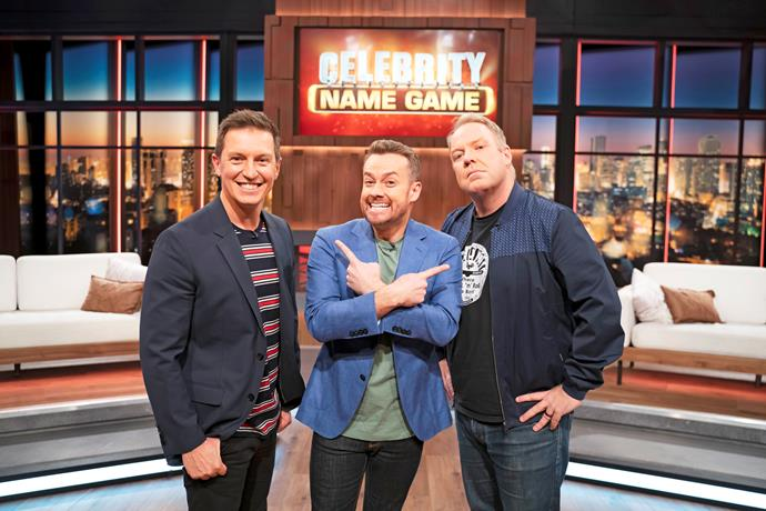Grant with Rove McManus and Peter Helliar on *Celebrity Name Game.*