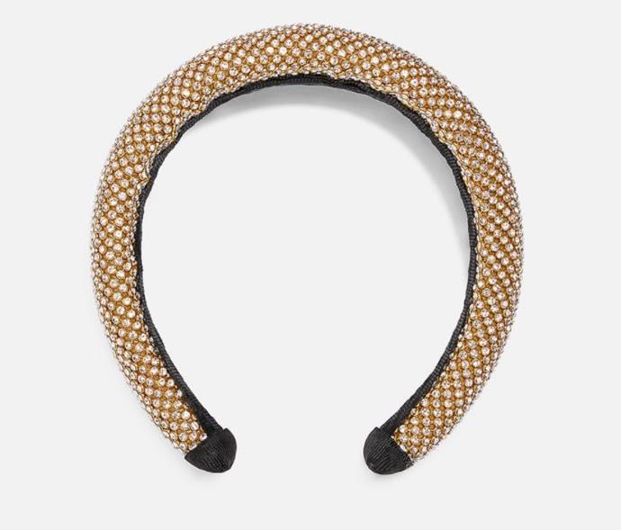"Zara padded rhinestone headband, $39.95. [Buy it online here](https://www.zara.com/au/en/padded-rhinestone-headband-p01856216.html|target=""_blank""|rel=""nofollow"")."
