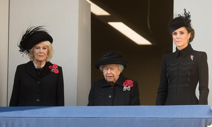 Duchess Catherine stood with the Queen and Duchess Camilla on the balcony.