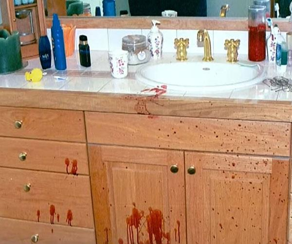 The bloody crime scene.