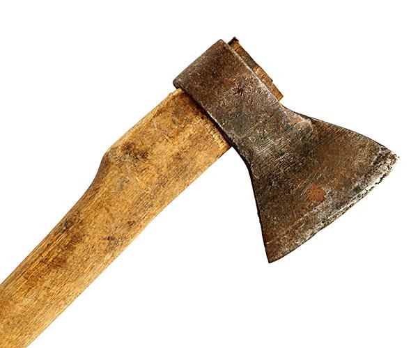 Next to a severely injured Joan was a bloodied axe.