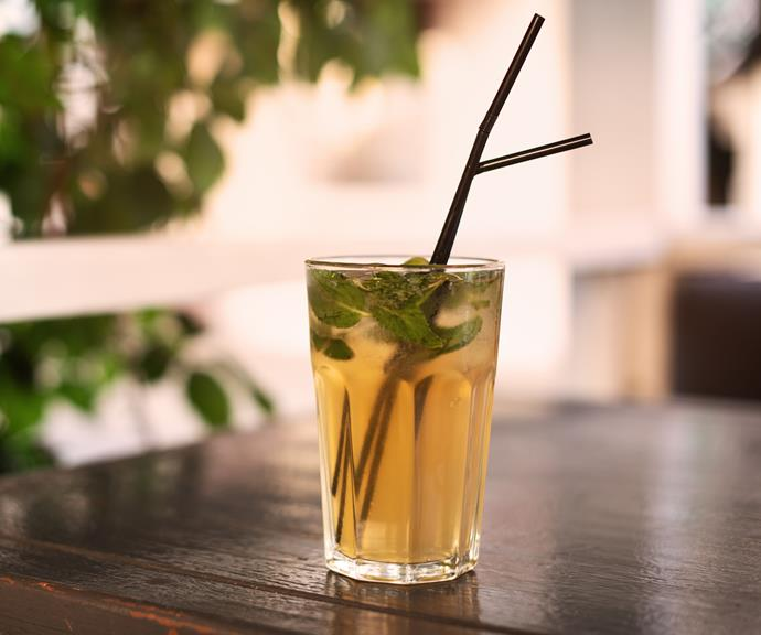 Ask for your drink in a tall glass to get more hydration from your soda water.