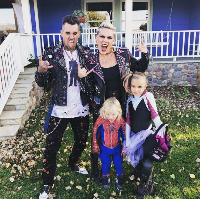 Rock on! The family channelled their inner punks for Halloween 2019. Jameson preferred to do his own thing though.