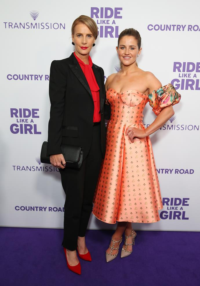 Rachel Griffiths and Michelle Payne attend the Sydney premiere of Ride Like A Girl at Cremorne Orpheum.