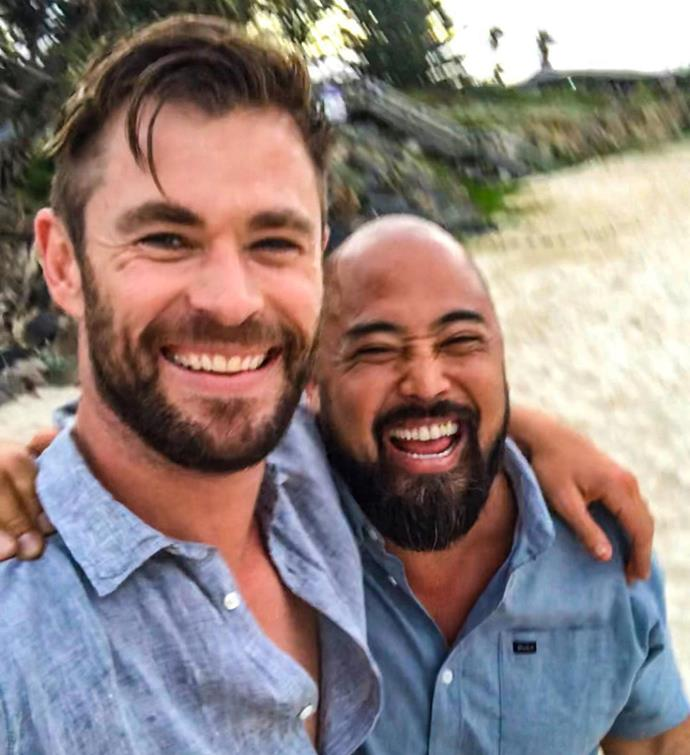 Chris Hemsworth and his trainer Joseph.