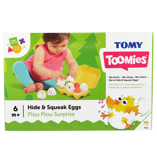 [Hide & Squeak Eggs by Tomy Toomies](https://www.bigw.com.au/product/tomy-hide-squeak-eggs/p/8212/), ($12) are a classic first toy for little ones. Crack open the eggs to find six colourful chicks that cheep when you push them. Great for little ones learning colour recognition and sorting.
