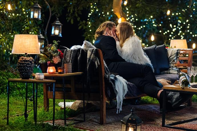 """There was no shortage of romantic Bachie music as Timm and Angie shared their first kiss. Let the violins play! <br><br> """"Look I'll be honest, I still can't make heads or tails of Timm, but all I know is he certainly makes me feel alive,"""" Angie told the cameras after their date.  <br><br> """"It's exciting, not knowing what's going to happen from one minute to the next. For better, or worse, I know that I need to explore this more and I just can't wait."""""""