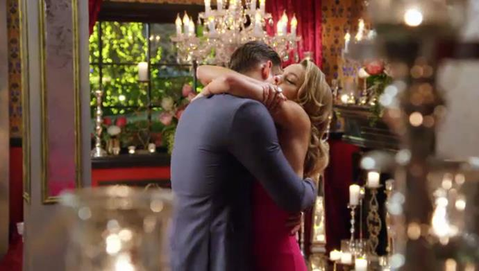 And after that beautiful display, it was no surprise when Angie gave Carlin the *very* first rose in the final rose ceremony - making him the first bachelor to head to the finale.
