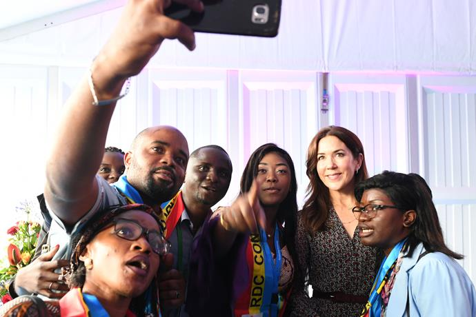 The Princess posed for a selfie with some of the summit's guests.