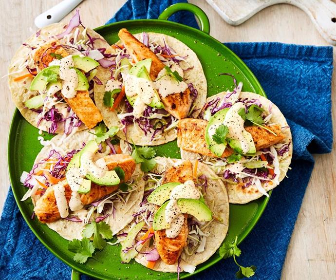"**Salmon tacos with chipotle mayonnaise** <br><br> If you're after most substantial finger food, these healthy and light tacos will please a crowd.  <br><br> *See the full Australian Women's Weekly recipe [here](https://www.womensweeklyfood.com.au/recipes/salmon-tacos-recipe-31030|target=""_blank"").*"