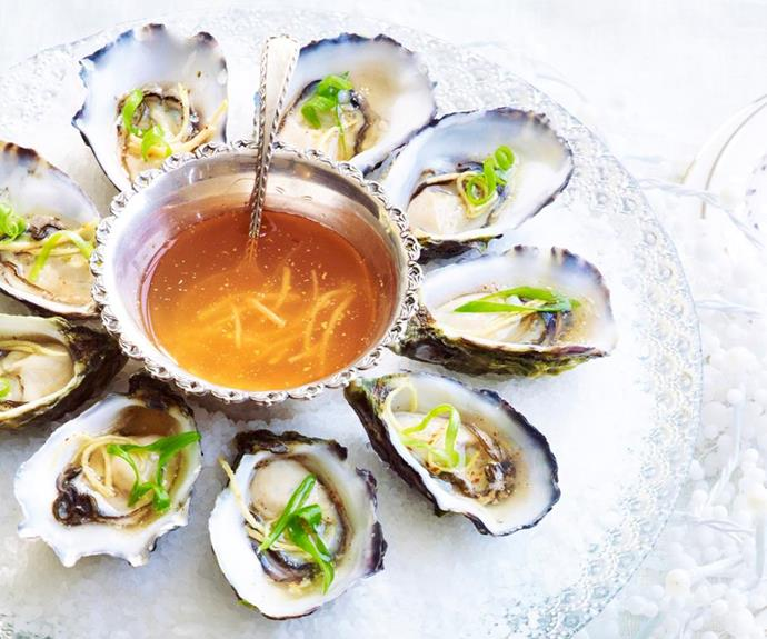 "**Oysters with chilli and ginger dressing** <br><br> Fresh and full of flavour, this simple canapé dish looks fancy and impressive, but is actually super easy and makes for the perfect summer entrée.  <br><br> *See the full Australian Women's Weekly recipe [here](https://www.womensweeklyfood.com.au/recipes/oysters-with-chilli-and-ginger-dressing-29371|target=""_blank""